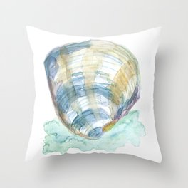 Watercolor Seashell Blue Throw Pillow