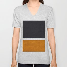 Black Yellow Ochre Rothko Minimalist Mid Century Abstract Color Field Squares Unisex V-Neck