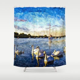 Serene Swans Watercolor  Shower Curtain