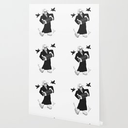 Grim reaper with accordion  - skull musician - black and white Wallpaper