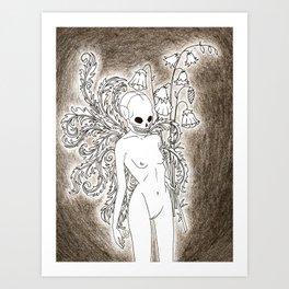 gurl skull Art Print