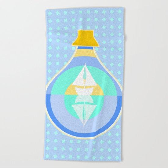 Ship in glass bottle Beach Towel