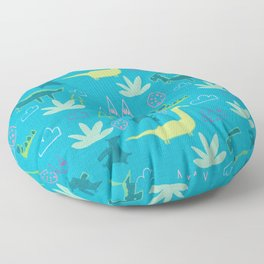 Dino Fun land Blue Floor Pillow