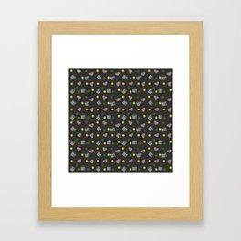 dark grey milk hearts Framed Art Print