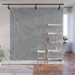 Fayetteville Map, North Carolina USA - Pewter Wall Mural
