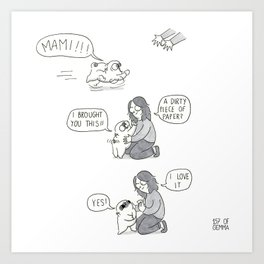 A paper gift from Mochi the pug to mami Art Print