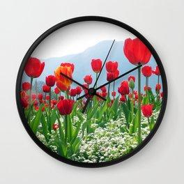 Giant tulip garden Wall Clock