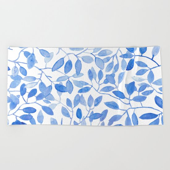 Watercolor Leafs Beach Towel