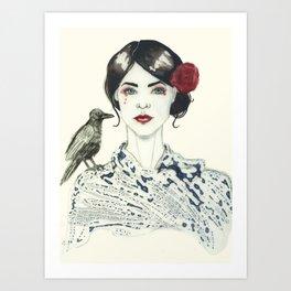 Rose's Raven Art Print