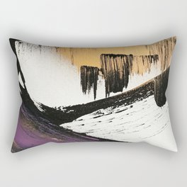 Axis [2]: a bold, minimal abstract in gold, purple, blue, black and white Rectangular Pillow