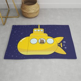 Yellow submarine in deep sea with a cat and bubbles Rug