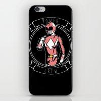 power ranger iPhone & iPod Skins featuring Power Crew Pink Ranger by zombieCraig by zombieCraig