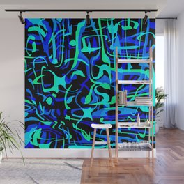 Chaotic scribbles in blue friday tons on black. Wall Mural