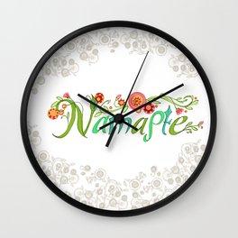 Namaste_Yoga Girls_ Flower Vines Gray_RobinPickens Wall Clock