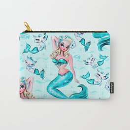 Pinup Mermaid with Merkittens Carry-All Pouch