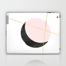 Pink Moon, Contemplation, Full Moon, Faux Gold Lines, Pink Black White Laptop & iPad Skin