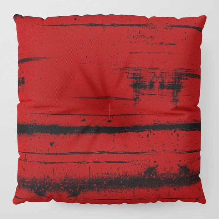 Black Grunge on Red Floor Pillow