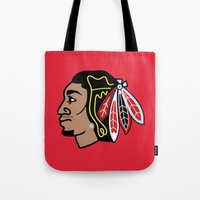 blackhawks Tote Bags featuring Blackhawks Inspired D Rose by beejammerican
