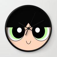 powerpuff girls Wall Clocks featuring Buttercup -The Powerpuff Girls- by CartoonMeeting