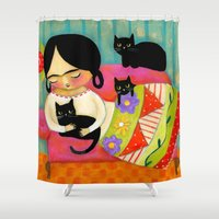 sofa Shower Curtains featuring Frida with black cats on sofa by tascha