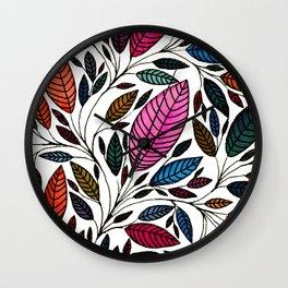 Watercolor Leaf Design Wall Clock