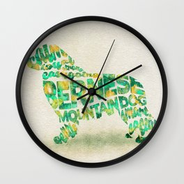 The Bernese Mountain Dog Typography Art / Watercolor Painting Wall Clock