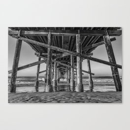 Morning under Newport Pier in Black and White Canvas Print