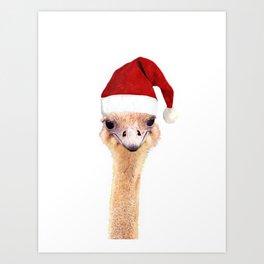 Ostrich Christmas Art Print