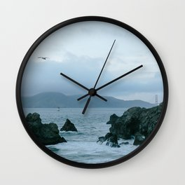 View of Golden Gate Bridge from Sutro Baths Wall Clock