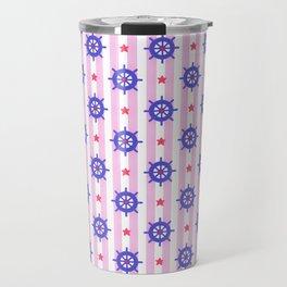 Modern nautical geometric blue pink stripes ships wheels pattern Travel Mug