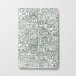 Christmas market toile pine Metal Print