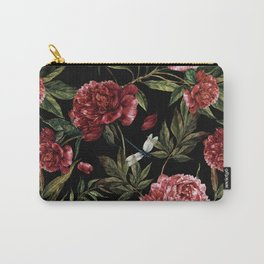 Black Vintage Peony Garden Carry-All Pouch
