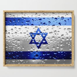 Flag of Israel - Raindrops Serving Tray
