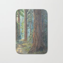 Big Basin Redwood Grove, California landscape painting by Leonora Naylor Penniman Bath Mat