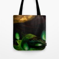 ohm Tote Bags featuring OHM by Angelica Gonzalez Donaire