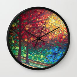 Winter sunset dot art by Mandalaole Wall Clock