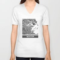 boston V-neck T-shirts featuring Boston map by Map Map Maps