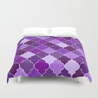 morocco Duvet Covers featuring Morocco Orchid by Jacqueline Maldonado