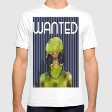 Wanted Alien White Mens Fitted Tee MEDIUM
