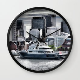 Yachts in Charles River Wall Clock