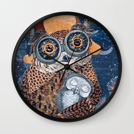 Owl mother Wall Clock