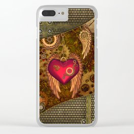Steampunk, heart with wings Clear iPhone Case