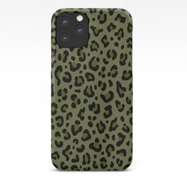 CAMO LEOPARD PRINT – Olive Green | Collection : Punk Rock Animal Prints. iPhone Case