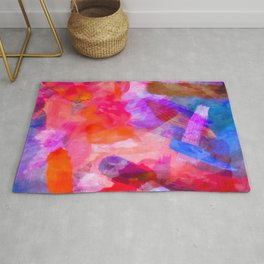 splash painting texture abstract background in purple pink red blue Rug