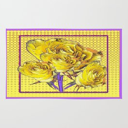 Yellow-Lilac Roses Still Life Purple Optical Abstract Rug