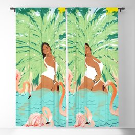 Water Yoga #illustration #summer #tropical Blackout Curtain