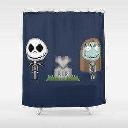 Jack & Sally (Pixel Art) Shower Curtain