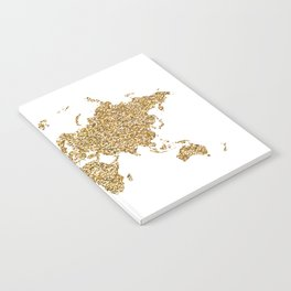 world map white gold Notebook
