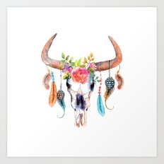 Watercolor bull skull with flowers and feathers vector Art Print