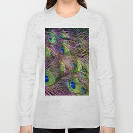 art nouveau bohemian turquoise purple teal green peacock feather Long Sleeve T-shirt
